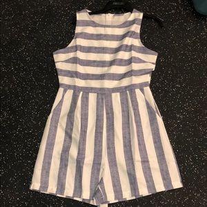 Pants - Cream and denim blue striped romper